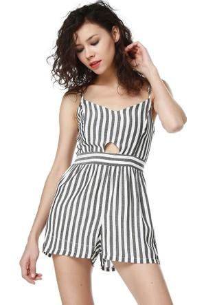 Bsl Fashion Çizgili Tulum Elbise 9271