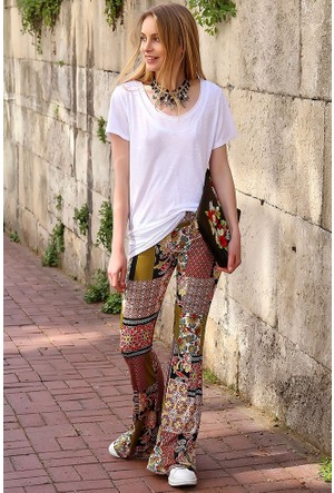 Bsl Fashion Desenli-2 Pantolon 9180