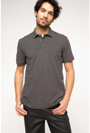 DeFacto Erkek Basic Polo T-Shirt Antrasit