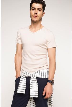DeFacto Erkek Basic T-Shirt Bej