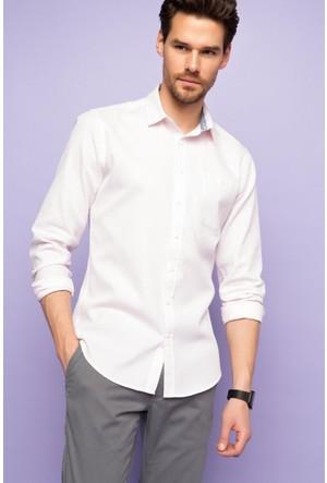 DeFacto Erkek Slim Fit Tek Cep Gömlek Gül Kurusu