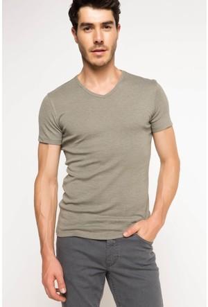 DeFacto Erkek Basic T-Shirt Haki
