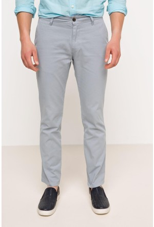 DeFacto Erkek Basic Gabardin Chino Pantolon Gri