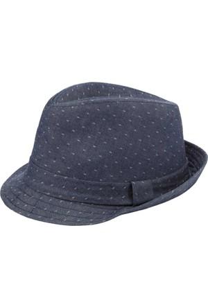 DeFacto Erkek Puantiyeli Fötr Şapka İndigo