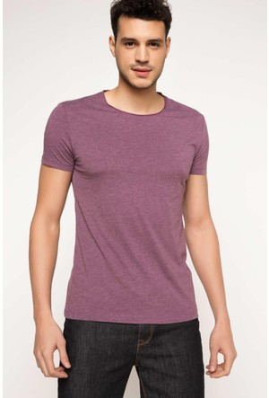 DeFacto Erkek Ekstra Slim Fit Basic T-Shirt Mor