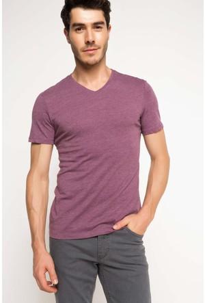 DeFacto Erkek Basic V Yaka T-Shirt Mor