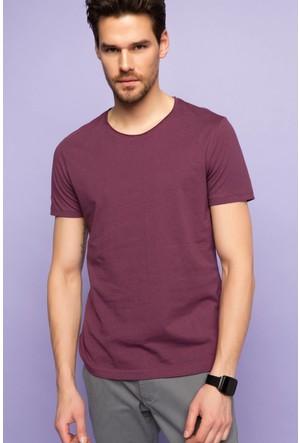 DeFacto Erkek Nopeli Basic T-Shirt Mor