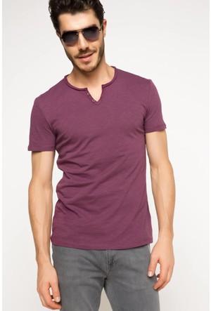 DeFacto Erkek Basic T-Shirt Mor