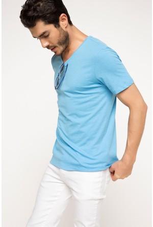 DeFacto Erkek Basic V Yaka T-Shirt Mavi