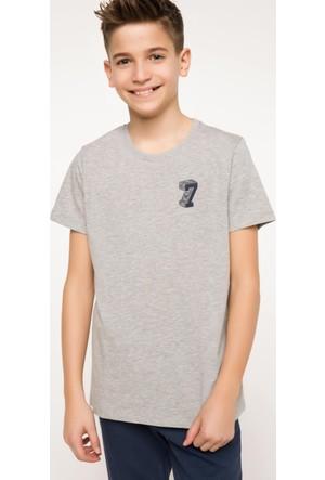 DeFacto Erkek Çocuk Baskılı T-Shirt Gri Melanj