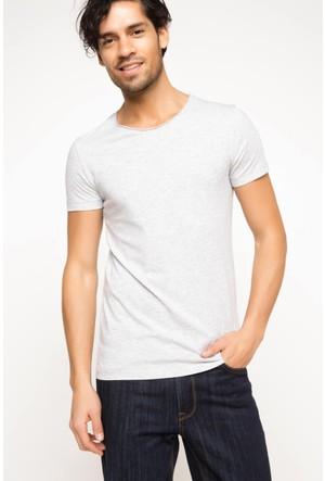 DeFacto Erkek Ekstra Slim Fit Basic T-Shirt Gri Melanj