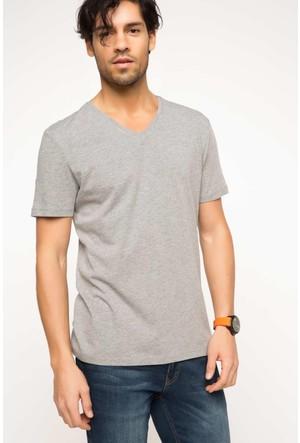 DeFacto Erkek Basic V Yaka T-Shirt Gri Melanj
