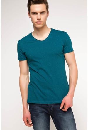 DeFacto Erkek Basic V Yaka T-Shirt Petrol
