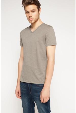 DeFacto Erkek Basic V Yaka T-Shirt Haki
