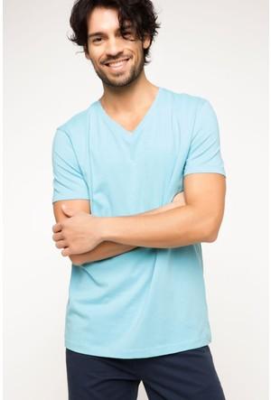 DeFacto Erkek Basic V Yaka T-Shirt Açık Mavi