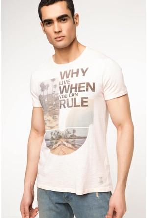DeFacto Erkek Slogan Baskılı T-Shirt Pudra