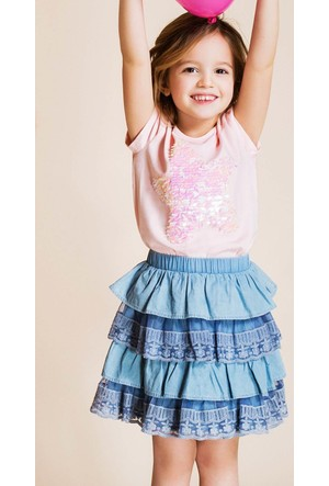 DeFacto Kız Çocuk Katlı Etek Açık Mavi