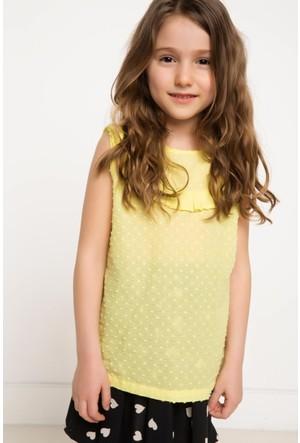 DeFacto Kız Çocuk Pileli Bluz Sarı