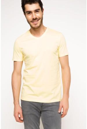 DeFacto Erkek Basic V Yaka T-Shirt Sarı