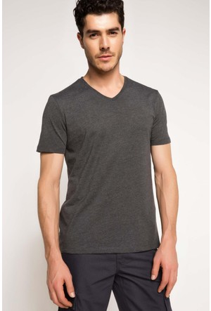 DeFacto Erkek Basic V Yaka T-Shirt Antrasit
