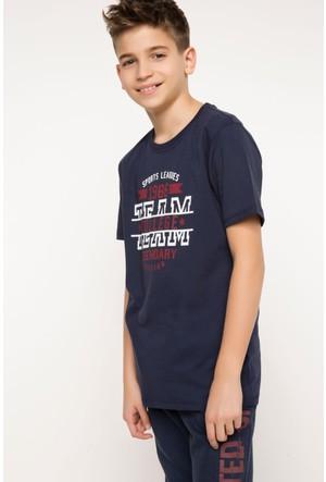 DeFacto Erkek Çocuk Baskılı T-Shirt İndigo