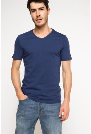 DeFacto Erkek Basic V Yaka T-Shirt İndigo