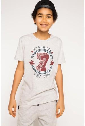 DeFacto Erkek Çocuk Baskılı T-Shirt Bej