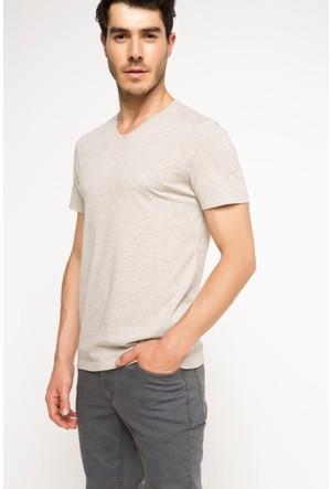 DeFacto Erkek Basic V Yaka T-Shirt Bej