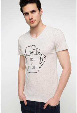 DeFacto Erkek V Yaka Baskılı T-Shirt Bej