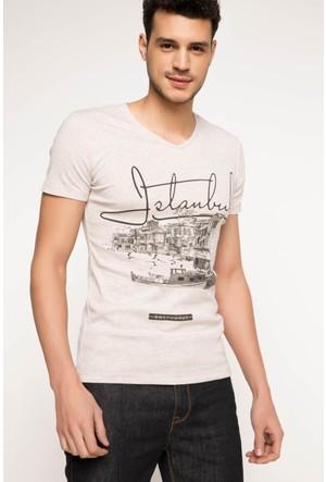 DeFacto Erkek V Yaka İstanbul Baskılı T-Shirt Bej