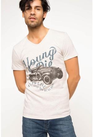 DeFacto Erkek Araba Baskılı T-Shirt Bej