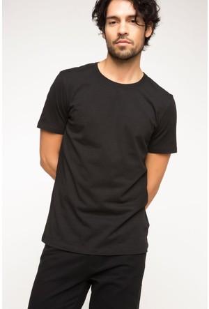 DeFacto Erkek Bisiklet Yaka Basic T-Shirt Siyah