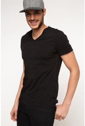 DeFacto Erkek Basic V Yaka T-Shirt Siyah