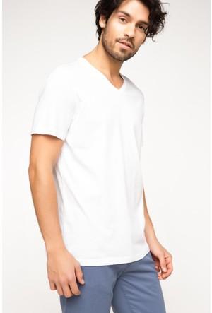 DeFacto Erkek Basic V Yaka T-Shirt Beyaz