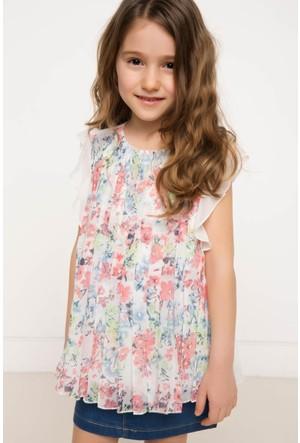 DeFacto Kız Çocuk Desenli Bluz Beyaz