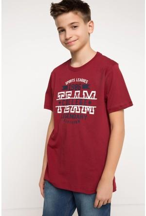 DeFacto Erkek Çocuk Baskılı T-Shirt Bordo