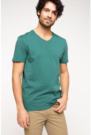 DeFacto Erkek Basic V Yaka T-Shirt Yeşil