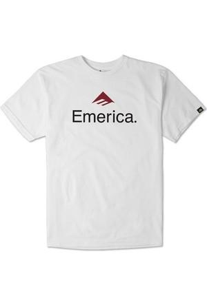 Emerica Skateboard Logo White Erkek T-Shirt