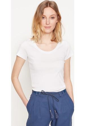 Koton Kadın Scoop Neck T-Shirt Beyaz
