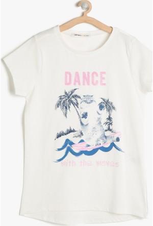Koton Kız Çocuk Baskılı T-Shirt Ekru