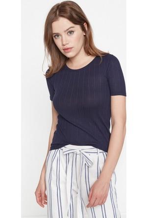 Koton Kadın Dar Kesim T-Shirt Lacivert