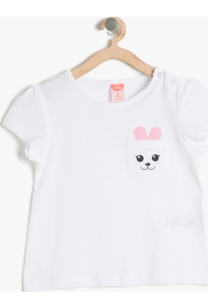 Koton Kız Çocuk Cep Detaylı T-Shirt Ekru