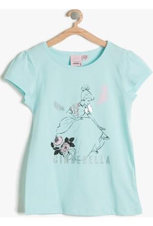 Koton Kız Çocuk Cinderella Baskılı T-Shirt Mint