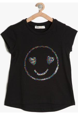 Koton Kız Çocuk Pul Detaylı T-Shirt Siyah