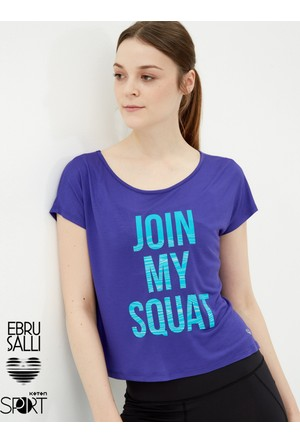 Koton Kadın Baskılı T-Shirt Mor