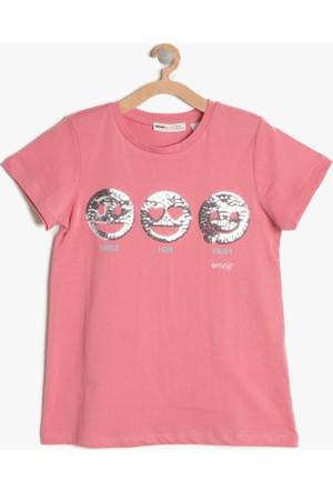 Koton Kız Çocuk Pul Detaylı T-Shirt Gül Rengi
