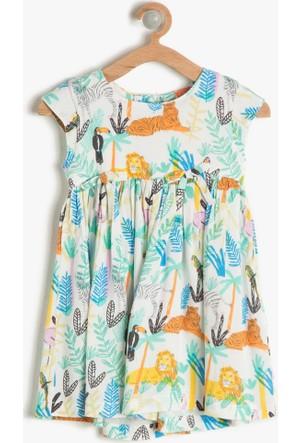 Koton Kız Çocuk Desenli Elbise Ekru