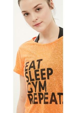Koton Kadın Baskılı T-Shirt Turuncu