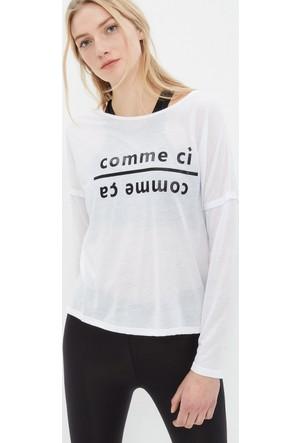 Koton Kadın Baskılı Sweatshirt Beyaz