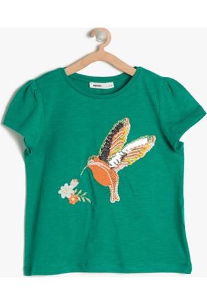 Koton Kız Çocuk İşlemeli T-Shirt Yeşil